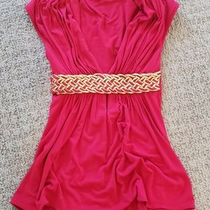 Sky Top XS red with gold leather braid